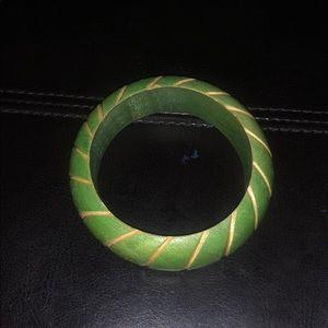Vintage Green & White Wooden Bracelet